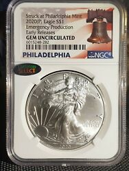 2020-p 1 American Silver Eagle Emergency Production [ngc]