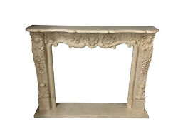 Hand Carved Marble Fireplace Mantel, Beige, French Design