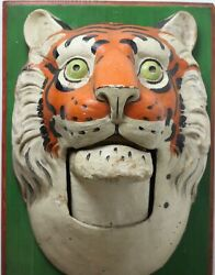 Paper Mache Circus Tiger Wall Mask, 1890, Germany