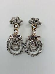 14k White And Yellow Gold Pink Sapphire And Diamond Earrings