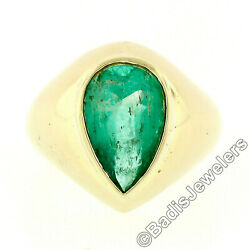 Vintage 14k Yellow Gold Gia 3.5ct Pear Colombian Emerald Bezel Solitaire Ring