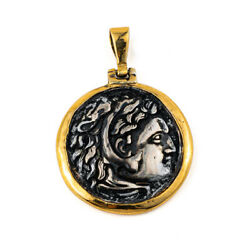 14k Gold And Silver Hercules Coin Pendant Ancient Greek Jewelry Greek Coins