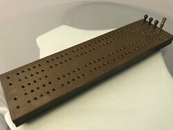 Vintage Heavy Industrial Brass And Bonded Material Cribbage Board With Brass Pegs