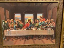 On Sale The Lord Supper Canvas Print Gold Frame 22.5x 26 Christian Religion