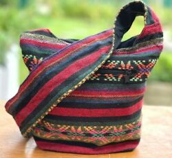 Aztec Shoulder Bag Hippie Hobo Boho Ikat Striped Thai Hobo Small Girls Purse $8.49