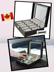 Watch Box Case 10 Slot For Watch Organizing W/ Framed Glass Lid And Secure Lock