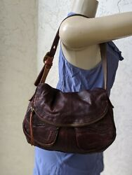 LUCKY BRAND Stash Fold Over Shoulder Bag Brown Red Distressed Soft Lamb Leather $49.95