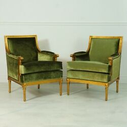 Pair Of English Gentleman's Lounge Arm Chairs In Antiqued Gold Leaf And Green