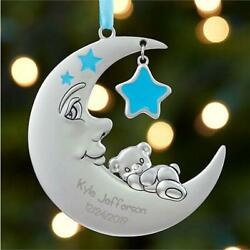 Personalized Moon And Stars Baby Boy's 1st Christmas Ornament Metal 3.5diam