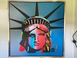 Peter Max Liberty Head Original Painting On Canvas 60x60