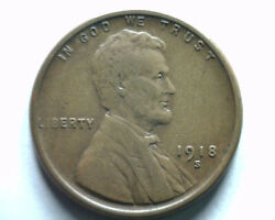 1918-s Lincoln Cent Penny Extra Fine+ Xf+ Extremely Fine+ Ef+ Nice Original Coin