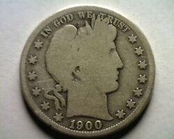 1900-s Barber Half Dollar Good G Nice Original Coin From Bobs Coins Fast Ship