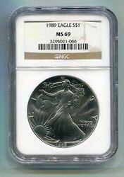 1989 American Silver Eagle Ngc Ms69 Brown Label Premium Quality Nice Coin Pq