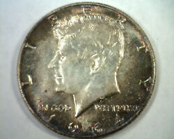 1964 Kennedy Half Dollar Choice Uncirculated/ Gem Super Attractive Toning/ Color