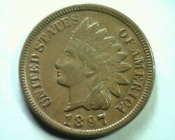 1897 S7 18/18 E Indian Cent Penny Choice About Uncirculated+ Ch. Au+ Original