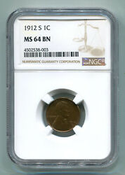 1912-s Lincoln Cent Penny Ngc Ms 64 Bn Nice Original Coin Premium Quality Pq