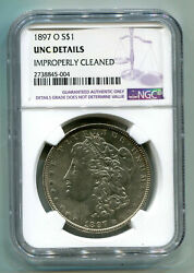 1897-o Morgan Silver Dollar Ngc Unc Detail Improperly Cleaned Nice Looking Coin