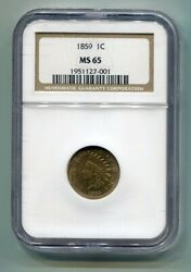 1859 Indian Cent Penny Ngc Ms65 Nice Original Coin From Bobs Coins