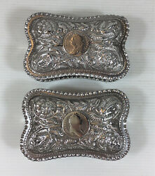 Fine Antique 1887 Pair Of Solid Silver Coin Set Embossed Boxed 260g