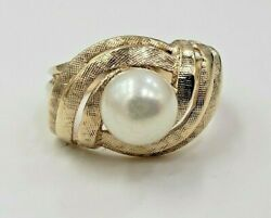 Cultured Pearl Ring In 14kt Stamped Crossed Pattern Yellow Gold Size 2.75 Us