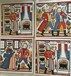 """Set Of 4 Vintage Tile Wall Hangings Victorian Era Pictures 6 X 6"""" Tiles"""
