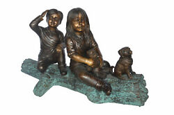 Young Children And Dog On A Log Bronze Statue - Size 40l X 16w X 24h.