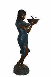 Lady Holding A Tray Bronze Statue Fountain - Size 17l X 23w X 62h.