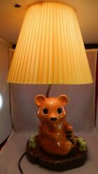 Vintage Signed 1984 Cap Table Lamp Teddy Bear Caterpillar Squirrel W/ Shade 18