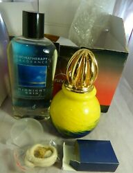 Alexandriaand039s Art Glass Catalytic Fragrance Oil Lamp Yellow And Blue New In Box 6