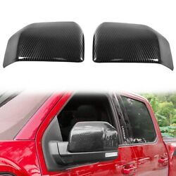 For 2015-2020 Ford F150 Black Carbon Fiber Print Look Side Mirror Covers F-150