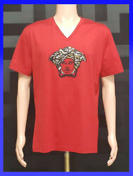 New Versace Embroidery And Crystal Embellished T-shirt In Red Size Xxl