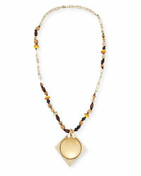 Nwt Alexis Bittar Large Lucite Pendant Beaded Gold Crystal Chain Necklace 445