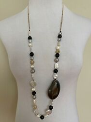 Nwt Alexis Bittar Liquid Silk Lucite Pearl Beaded Long Gold Chain Necklace 395
