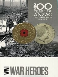 2015 Anzac Remembered Wwi War Heroes 1 Red Poppy Unc Coin On Card