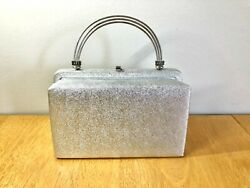 Vintage Metallic Silver Evening Bag Purse Clutch Metal Handle After Five USA $25.00