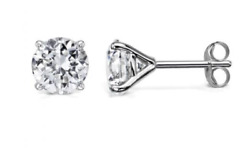 14k Solid Yellow Gold Four-prongs Moissanite Stud Pair Earrings 2ct