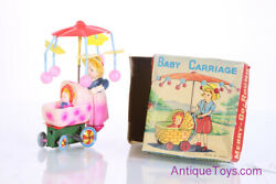 Vintage Baby Carriage Merry Go Round Windup Celluloid/plastic Japan Toy In Box
