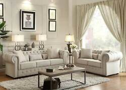 Transitional Living Room Set Sofa Couch And Loveseat In Beige Chenille Fabric Ig55