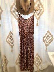 OLD NAVY WOMEN'S V NECK MAXI SHIFT SPAGHETTI STRAP BROWN FLORAL DRESS L NWT BOHO $29.99