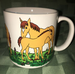 Vintage Zac Designs Horse With Baby Foal Coffee Mug 1986