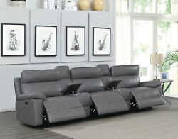 Grey Polyester 3 Power Recliner Reclining Theater Seats And 2 Consoles Furniture