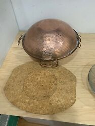 Vintage Hammered Copper Pot Vessel Pan Bowl With Hinged Lid Strainer And Cork Pad