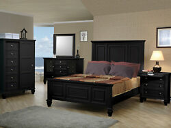 New 5 Pieces Traditional Design Black Finish Bedroom Set W/ Queen Panel Bed Ia75