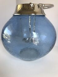 Pottery Barn Colton Hammered Nickle And Blue Glass Candle Lantern