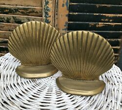 Vintage Brass Seashell Clam Shell Bookends Nautical Beach House Cottage Decor