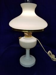 Vintage Aladdin Alacite White Lamp, Electric With Shade.