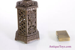 Antique English Penny Cast Iron Still Bank Floral Heater