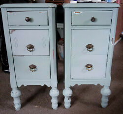 Antique Pair Tall Bedside Tables Chalk Painted Distressed Vintage Nightstands
