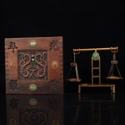 Chinese Old Copper Hand-made Gems Jade Balance Scales + Box Guangxu Year