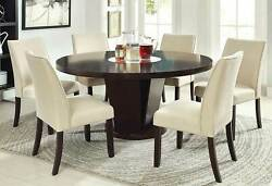 Modern Espresso Table And Beige Chairs - 7 Pieces Dining Room Furniture Set Ice5